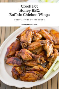 Crock Pot Honey BBQ Buffalo Chicken Wings are finger licking good. If you love sweet and spicy sticky chicken wings then these chicken wings are for you. Honey Bbq Chicken Wings, Sweet And Spicy Chicken, Sticky Chicken, Slow Cooker Recipes, Crockpot Recipes, Cooking Recipes, Game Recipes, Cooking Ideas, Chicken Wing Recipes
