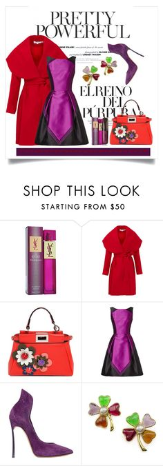 """Purple Power"" by conch-lady ❤ liked on Polyvore featuring F, Yves Saint Laurent, Keepsake the Label, Fendi, Theia, Casadei, Chanel, Hourglass Cosmetics, women's clothing and women"