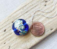 Wave Necklace Beach Necklace Cobalt Blue Pendant by JBMDesigns