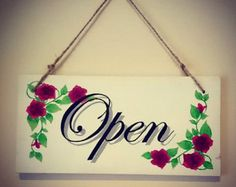 OPEN/CLOSED Double Sided Shop or Business Sign Door Sign Hanging Sign Plaque Hand Painted
