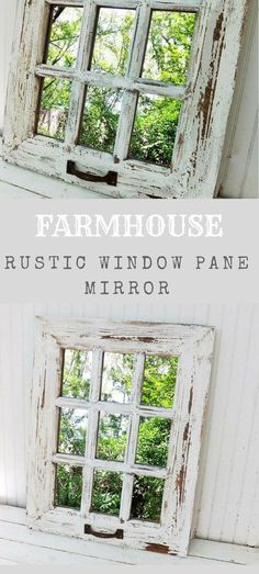 I love this farmhouse look rustic window pane mirror. Rustic Room, Rustic Farmhouse Decor, Country Decor, Rustic Decor, Farmhouse Style, Window Pane Decor, Window Pane Mirror, Mirror With Shutters, Decorating With Window Panes