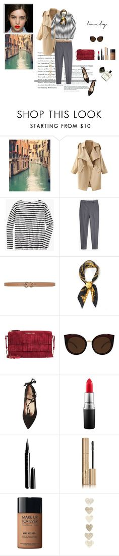 """""""Woman"""" by sarah0-0 on Polyvore featuring moda, WithChic, J.Crew, MANGO, Max Studio, Versace, Burberry, Quay, French Sole FS/NY y MAC Cosmetics"""