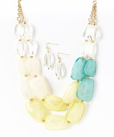 Gold  Yellow Beaded Necklace  Drop Earrings | zulily