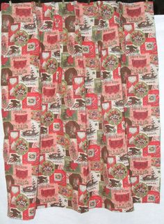Red/Pink/Green Collage Curtain (x4)
