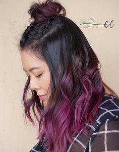 Dark Brown Hair With Burgundy Balayage