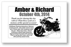 50 - Motorcycle Theme Wedding Bridal Shower Seed Packets Favors - Chopper Biker