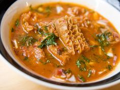 Menudo Rojo, or Red-Chile Tripe Soup : Serious Eats Mexican Stew, Mexican Dishes, Mexican Food Recipes, Ethnic Recipes, Mexican Meals, Tripe Soup, Beef Tripe, Menudo Soup, Tripe Recipes