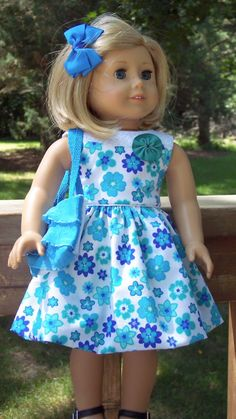 Blue Flowered Summer Dress with Totebag by buttonandbowboutique