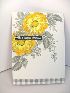 https://flic.kr/p/BEZAfc | Yellowy Flowers | Altenew florals with Simon Says Stamp die cut and PTI white heat-embossed sentiment.