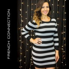 FRENCH CONNECTION Stripe Sweater Dress Excellent pre owned condition. Very minor piling. Very soft and sexy! Modeled by Melissa. Photos by Djukich Studios and The Loose Change Collective. French Connection Dresses