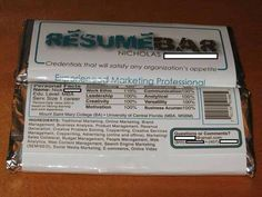 Chocolate bar wrapper resume
