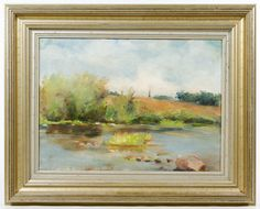"Lot 586: Unknown Artist (European, 20th Century) Oil on Canvas; Undated, unsigned, depicting an Impressionist style landscape; frame marked ""Made in Brazil"" en verso"