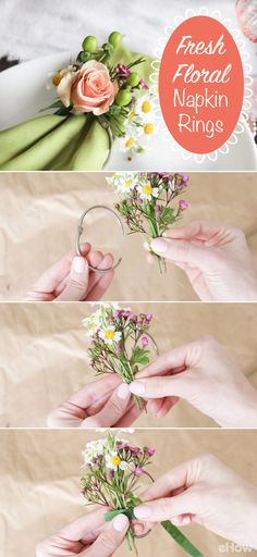 These fresh floral napkin rings are beautiful! Perfect for bridal showers, baby showers, wedding receptions or a spring and summer picnic! Get the full how-to here: http://www.ehow.com/how_12343173_create-napkin-rings-using-fresh-florals.html?utm_source=pinterest.com&utm_medium=referral&utm_content=freestyle&utm_campaign=fanpage