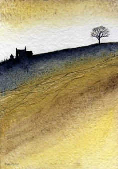 ARTFINDER: Golden. by JULIE MORRIS - I have added a touch of gold ink to the field in this one.