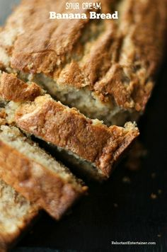 Sour Cream Banana Bread | ReluctantEntertainer.com - good flavour. Would use half to 2/3 the sugar, next time.