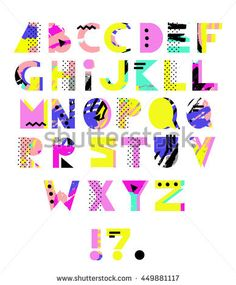 Hand Drawn Alphabet Geometric Funny Font Colorful Vector Marker Scribble Letters 80s