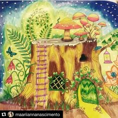 tronco - floresta encantada - enchanted forest - Johanna Basford - secret garden