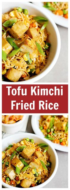 Tofu Kimchi Fried Rice is an easy dish that you can make at home all the time. The baked and seasoned tofu gives this fried rice a wonderful flavor!