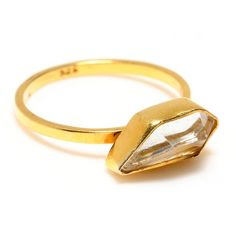 gold / Crystal quartz ring --better than blood/conflict diamonds for I do-ing!