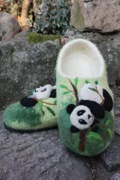 Felted Slippers Panda by IrinaU on Etsy, $101.00