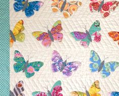 Butterflies quilt pattern by Black Mountain Needleworks. Easy machine applique. www.blackmountainneedleworks.com