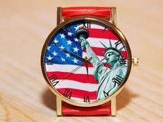 Wrist Watch American Flag Wristwatch Statue of Liberty