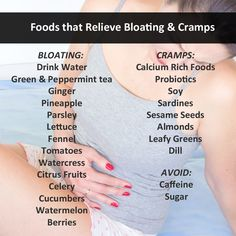 Foods that Relieve Bloating Cramps. To know more: == http://www.curejoy.com/content/how-to-restore-your-menstrual-cycle-naturally/ == http://www.curejoy.com/content/natural-ways-to-tackle-irregular-menstrual-periods/