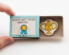 "Father's Day Card ""Father of the Year"" ""World's Best Father"" Matchbox / Gift box / Message box"