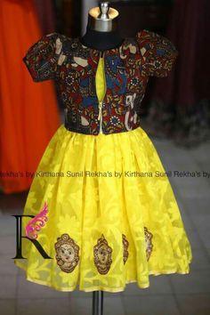 Yellow Kalamkari Frock For Baby Girls Kids Dress Wear, Kids Gown, Dresses Kids Girl, Kids Outfits, Kids Wear, Kids Indian Wear, Kids Ethnic Wear, Baby Dress Design, Frock Design