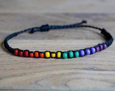 LGBTQ pride bracelet Rainbow beaded bracelets Handmade jewelry Gift her Girls gypsy colorful cuff bracelet Boho wrap chunky cuff bracelet Diy Bracelets And Anklets, Homemade Bracelets, Diy Bracelets Easy, Bracelet Crafts, Beaded Bracelets, Leather Bracelets, Leather Cuffs, Silver Bracelets, Jewelry Necklaces