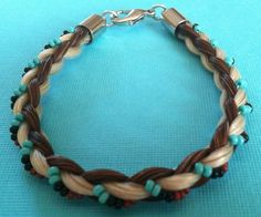Beautiful Brown White Horse Hair Bracelet Braided with Teal Navy Beading | eBay