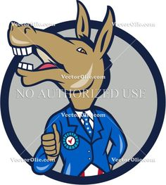 Democrat Donkey Mascot Thumbs Up Circle Cartoon Cartoon Stock Illustration. Illustration of a democrat donkey mascot of the democratic grand old party gop showing thumbs up looking to the side wearing american stars and stripes suit done in cartoon style set inside circle. #cartoonillustration  #DemocratDonkey