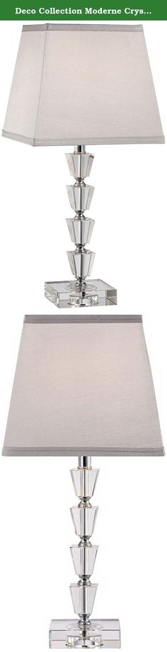 Deco Collection Moderne Crystal Accent Table Lamp. The Moderne crystal table lamp adds stunning sparkle and remarkable luxury to contemporary or Art Deco inspired home decor. This style features four stacked tapered crystal cubes on the column that lead up to a handsome gray tapered square lamp shade. From the Deco collection of elegant crystal table lamps. Vienna Full Spectrum™ lighting. - Crystal table lamp. - Moderne design from the Deco collection. - Gray tapered square shade. - A…