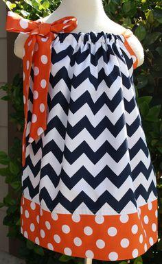 Navy Chevron and Orange Polka Dot Pillowcase dress.Sizes 0-12 mths-size 8 available.