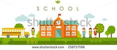 Seamless panoramic background with graduation concept in flat style - stock vector