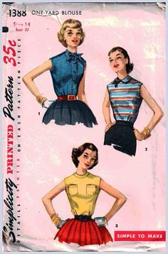 Simplicity Sewing Pattern 1388 Misses' One Yard Blouse - estimated Vintage 1960's Size: 14 Bust 32 Used