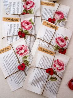 Customised Vintage Style Book Favours for Weddings, Anniversaries, Parties on Etsy, £2.50