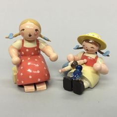 Vintage Erzgebirge Expertic Pig Tailed Girls Polka Dot Dress & Doll & Bluebird