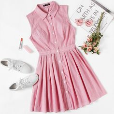 Box Pleated Fit & Flare Shirt Dress Source by Official_Romwe Dresses Simple Dresses, Pretty Dresses, Casual Dresses, Short Dresses, Summer Dresses, 50 Style Dresses, Cute Casual Outfits, Girly Outfits, Dress Outfits