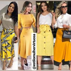 Second from the left Classy Outfits, Chic Outfits, Trendy Outfits, Fashion Outfits, Modest Fashion, Love Fashion, Girl Fashion, Womens Fashion, Skirt Outfits