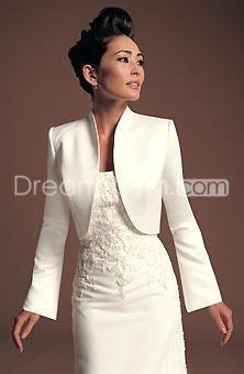 Elegant Long Sleeves White Satin Jackets(J-06)