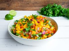 This Mango & Coriander Salad is fresh, zesty, tangy and full of flavor. Packed with fresh herbs, sweet mango, spicy chili and and zingy lime. Fruit Recipes, Plant Based Recipes, Whole Food Recipes, Salad Recipes, Cooking Recipes, Cooking Ideas, Drink Recipes, Recipies, Vegetarian Recipes