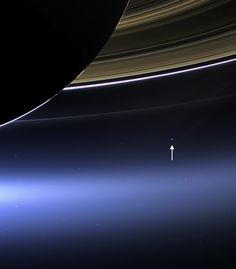 Via Cassini - rare image of Saturn's rings and our planet Earth and its moon.