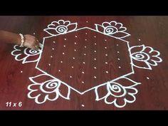 Latest Chukkala Muggulu With Flowers By 11 x 6 Dots. Rangoli Designs Simple Diwali, Rangoli Simple, Rangoli Designs Latest, Rangoli Designs Flower, Free Hand Rangoli Design, Small Rangoli Design, Rangoli Border Designs, Rangoli Designs With Dots, Rangoli With Dots