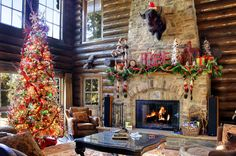 Fair Isle stockings and a crackling fire in a log cabin set the perfect holiday scene in Big Bear Lake, California.