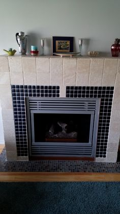 after: gas fireplace box surround with a simple design box, adding ...