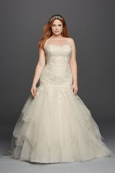 Extra Length Tulle Plus Size Oleg Cassini Embellished Mermaid Wedding Dress - Ivory, 20W