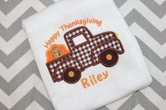 Personalized Thanksgiving Shirt - Turkey Truck Boy's Thanksgiving Shirt