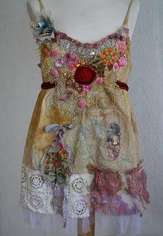 Ruby rose romantic shabby chic tunic with old por FleursBoheme
