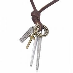 Men's Genuine Brown Leather Single Strand Necklace & Spike Pendants Men's Jewellery #mensfashion #mensjewellery www.urban-male.com